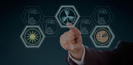 Arm in corporate suit raising index finger to push a wind energy button in touch screen interface. Wind, solar and geothermal power icons lighting up, while traditional power stations remain inactive.