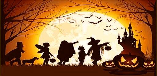 Vector illustration of children's silhouette trick or treat.